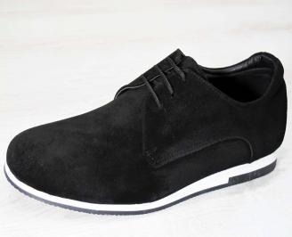 Мъжки спортно елегантни обувки естествен велур черни EVHE-15844