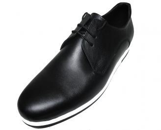 Мъжки спортно елегантни обувки естествена кожа черни IOTV-15848