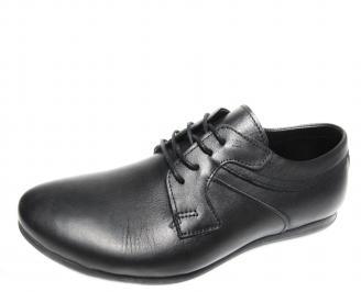 Мъжки спортно елегантни обувки естествена кожа черни OEFE-16370