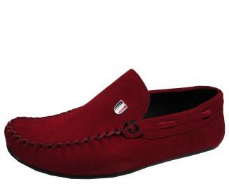 Мъжки спортно елегантни обувки естествен велур червени GQKQ-16912