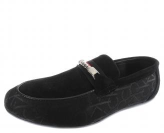 Мъжки спортно елегантни обувки черни естествен велур PSYB-19296