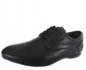 Мъжки спортно елегантни обувки черни естествена кожа CZUH-19299