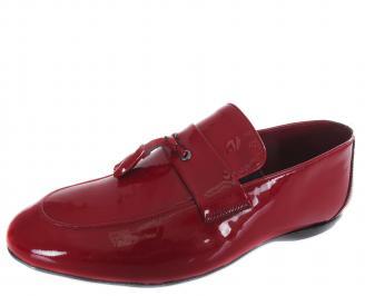 Мъжки спортно елегантни обувки червени естествена кожа/лак QMYI-19309
