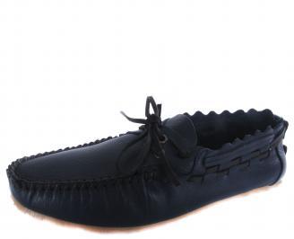 Мъжки спортно елегантни обувки тъмно сини естествена кожа MAEF-19312
