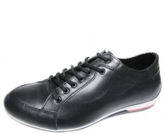 Мъжки спортно елегантни обувки естествена кожа черни CQOK-19883
