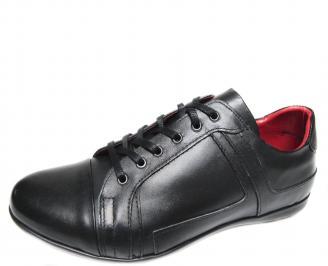 Мъжки спортно елегантни обувки естествена кожа черни TUSK-19891