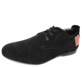 Мъжки спортно елегантни обувки естествен велур черни CKYD-19962