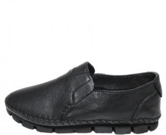 Мъжки спортно елегантни обувки естествена кожа черни APWR-19966