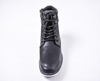Мъжки зимни боти  еко кожа черни KPIH-1010833