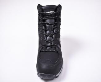 Мъжки зимни боти еко кожа черни KVSU-1013234