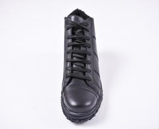 Мъжки зимни боти от естествена кожа черни VAHW-1010773