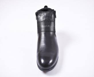 Мъжки зимни боти от естествена кожа черни JROA-1010779