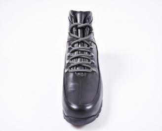 Мъжки зимни боти от естествена кожа черни NKEE-1010795