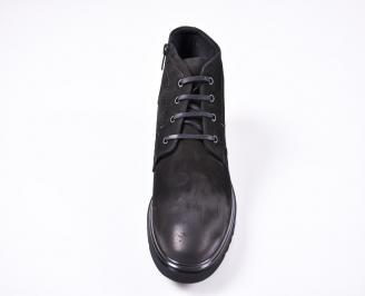 Мъжки зимни боти от естествена кожа черни MEYF-1010810