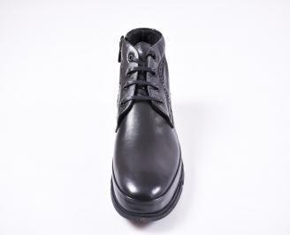 Мъжки зимни боти от естествена кожа черни PVJQ-1010817