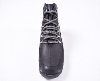 Мъжки зимни боти от естествена кожа черни SVCP-1010819