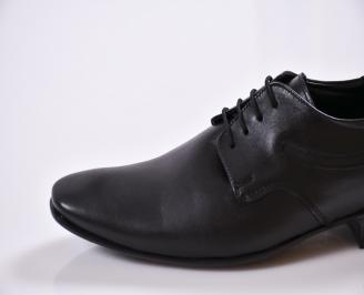 Официални мъжки обувки естествена кожа черни MPJA-23390