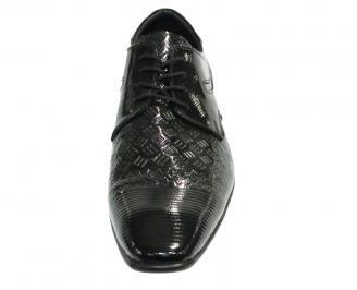 Официални мъжки обувки от естествена кожа/лак черни XUXJ-10173