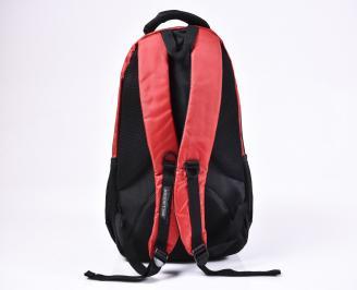 Раница  текстил  черно/червено WECS-1010201