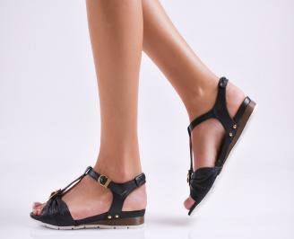 Равни дамски сандали естествена кожа черни  KYUQ-1015907