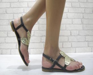 Равни дамски сандали естествена кожа черни EBVC-24018