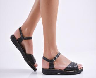 Равни дамски сандали естествена кожа черни UNXE-24031
