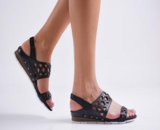 Равни дамски сандали естествена кожа черни JWII-24070