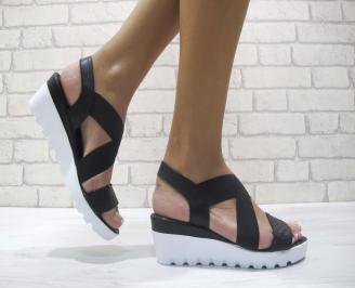 Равни дамски сандали естествена кожа черни WQFA-24071