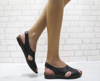 Равни дамски сандали естествена кожа черни RXTI-24128