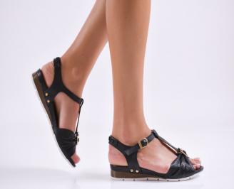 Равни дамски сандали естествена кожа черни RDJT-24131