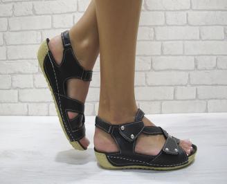 Равни дамски сандали естествена кожа черни JMOF-24201