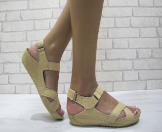 Равни дамски сандали естествена кожа бежови CMIF-24222