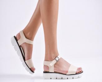 Равни дамски сандали естествена кожа бежови TTOM-24249