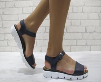 Равни дамски сандали естествена кожа тъмно сини FFKD-24254