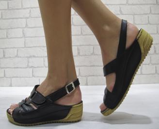 Равни дамски сандали естествена кожа  черни ZLSS-24275