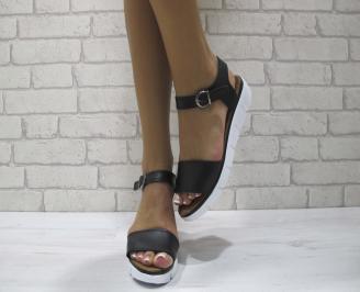 Равни дамски сандали естествена кожа черни BNYD-24279