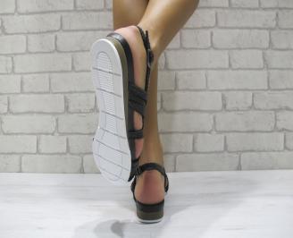 Равни дамски сандали естествена кожа черни XGDJ-24472