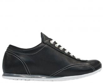 Спортни мъжки обувки естествена кожа черни IIQK-10113