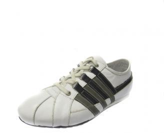 Спортни мъжки обувки естествена кожа бели TPWU-11188