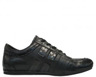 Спортни мъжки обувки естествена кожа черни KHNM-10120