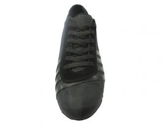 Спортни мъжки обувки естествена кожа черни LPSK-11206