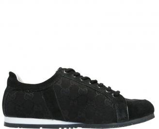 Спортни мъжки обувки естествена кожа черни VMJC-10121