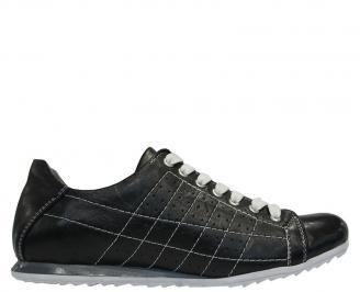 Спортни мъжки обувки естествена кожа черни SEUE-10096