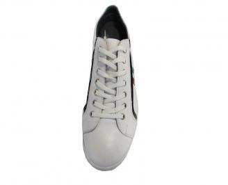 Спортни мъжки обувки от естествена кожа бели PWFV-10029