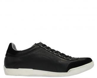 Спортни мъжки обувки от естествена кожа черни FNKU-10048