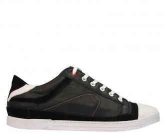 Спортни мъжки обувки от естествена кожа черни XXHZ-10075