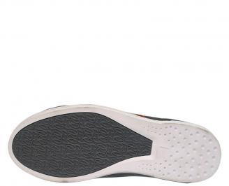 Спортни мъжки обувки от естествена кожа черни TNMC-10079