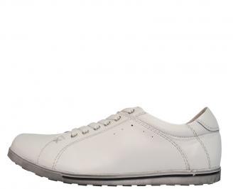Спортни мъжки обувки от естествена кожа бели PAGX-10080