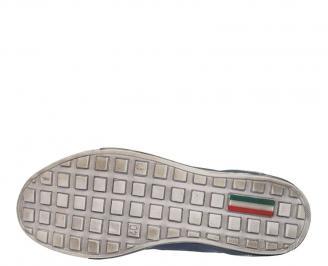 Спортни мъжки обувки от естествена кожа сини KHTV-10089