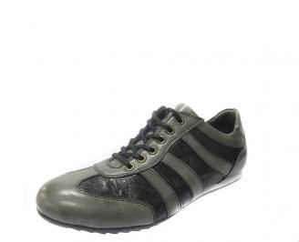 Спортни обувки мъжки естествена кожа черни IVRH-11186